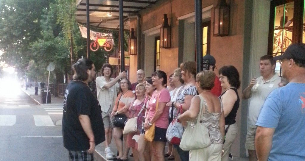Walking tour group on ghost and vampire tour
