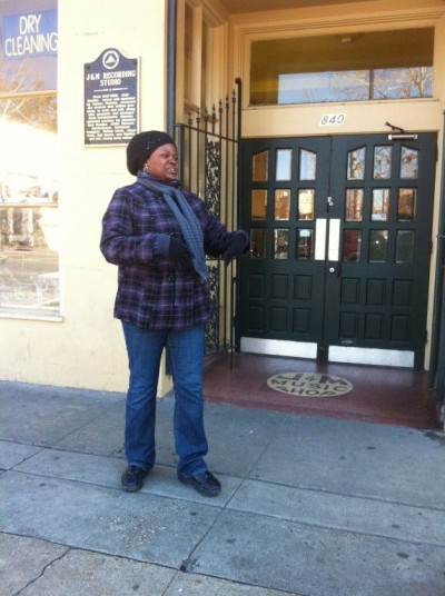 Emily as the Treme tour guide